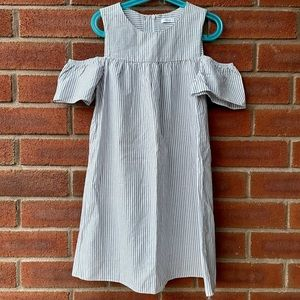Next Grey & White Striped Cold Shoulder Dress